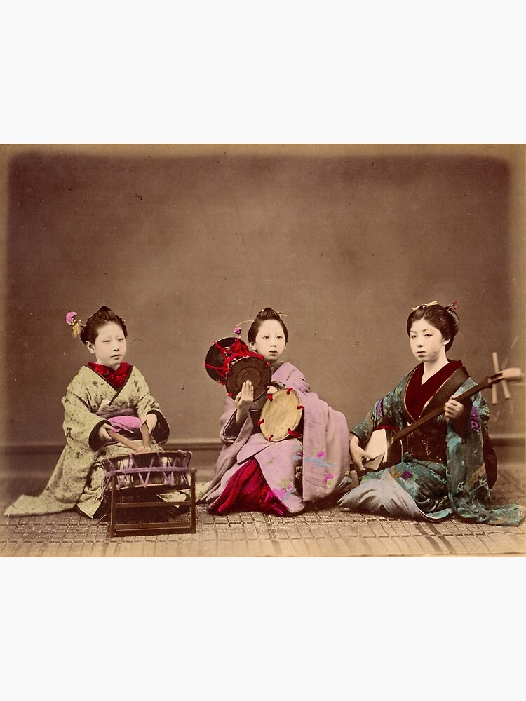 Japanese girls playing music, 1890s by Fletchsan