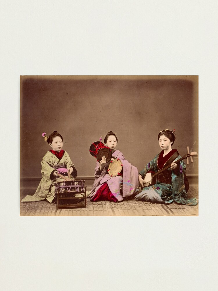 Alternate view of Japanese girls playing music, 1890s Photographic Print