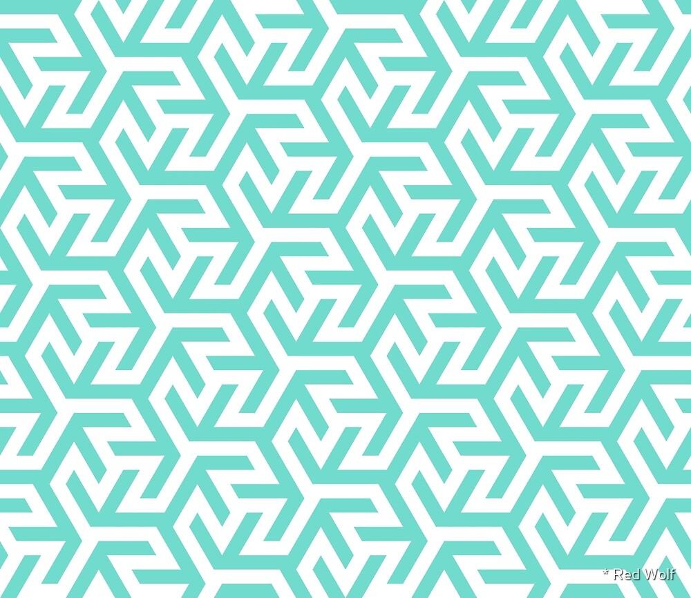 Geometric Pattern: Triskelion Fork: Blue by * Red Wolf