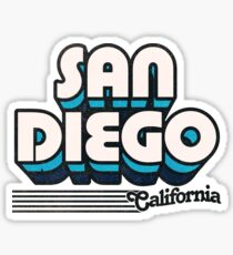 San Diego, California | Retro Stripes Sticker