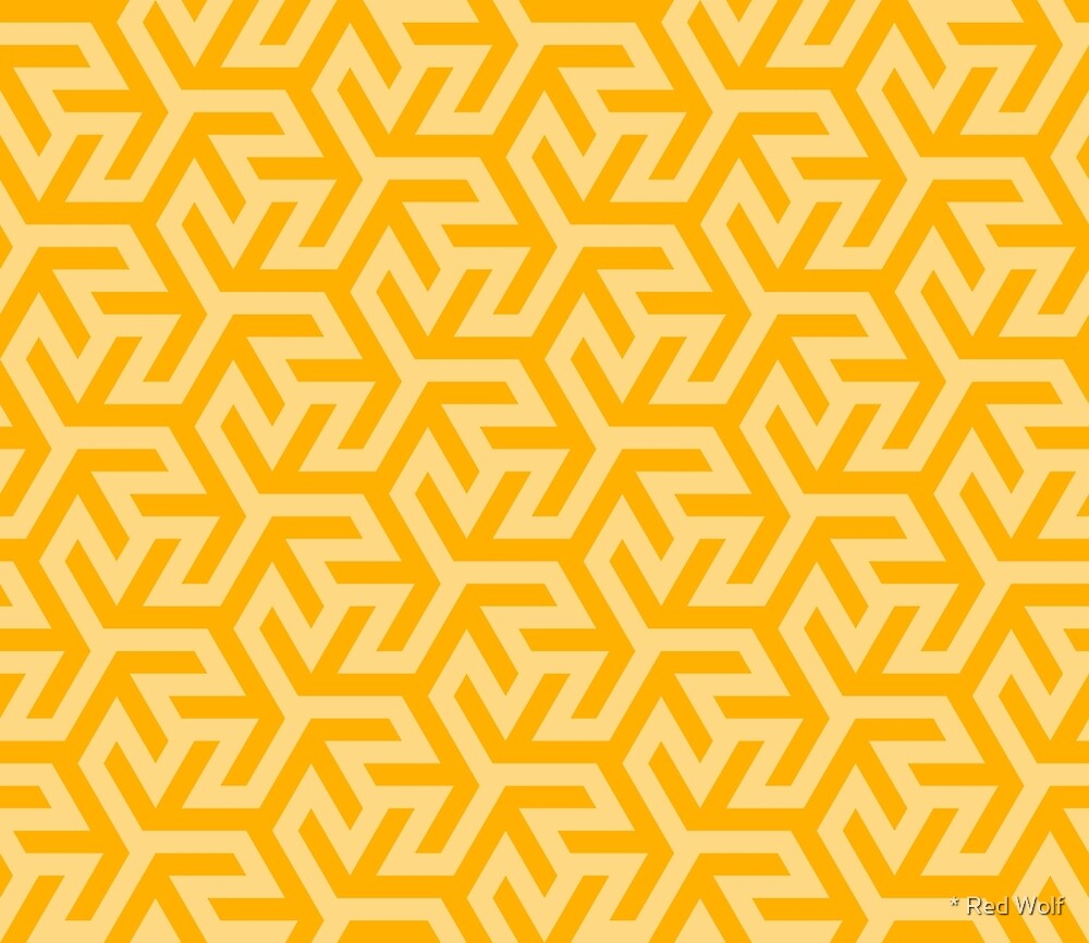Geometric Pattern: Triskelion Fork: Yellow by * Red Wolf