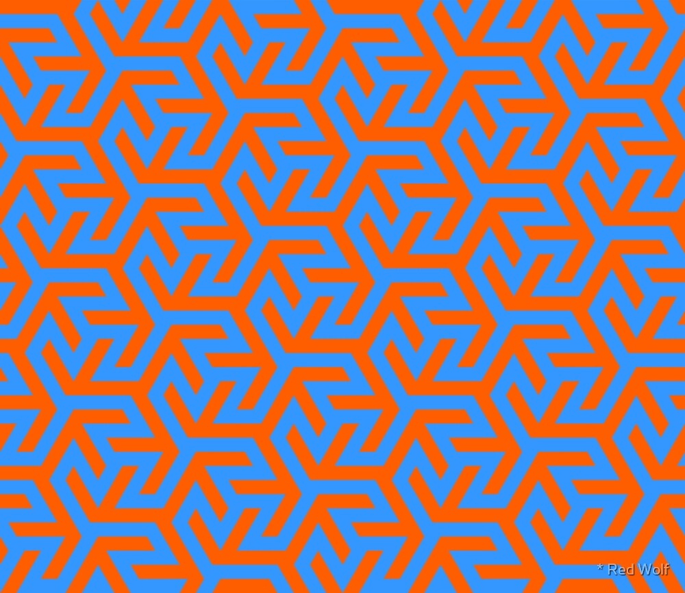 Geometric Pattern: Triskelion Fork: Blue/Orange by * Red Wolf