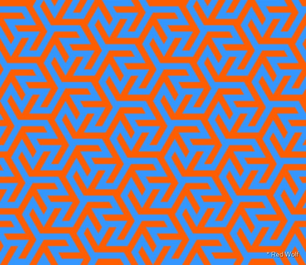 Geometric Pattern: Triskelion Fork: Blue/Orange by * Red Wolf
