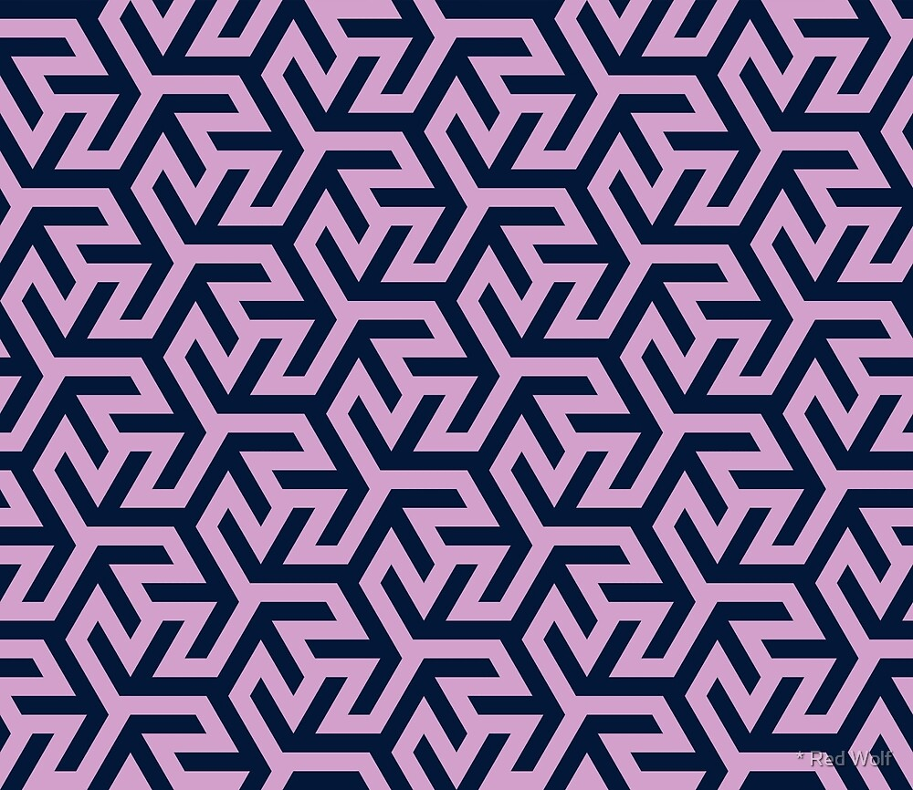 Geometric Pattern: Triskelion Fork: Navy/Pink by * Red Wolf