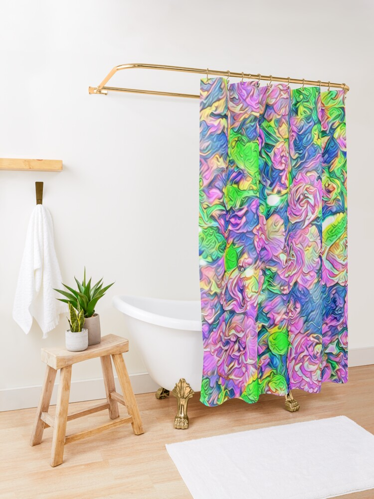 Alternate view of Abstract Flowers Shower Curtain