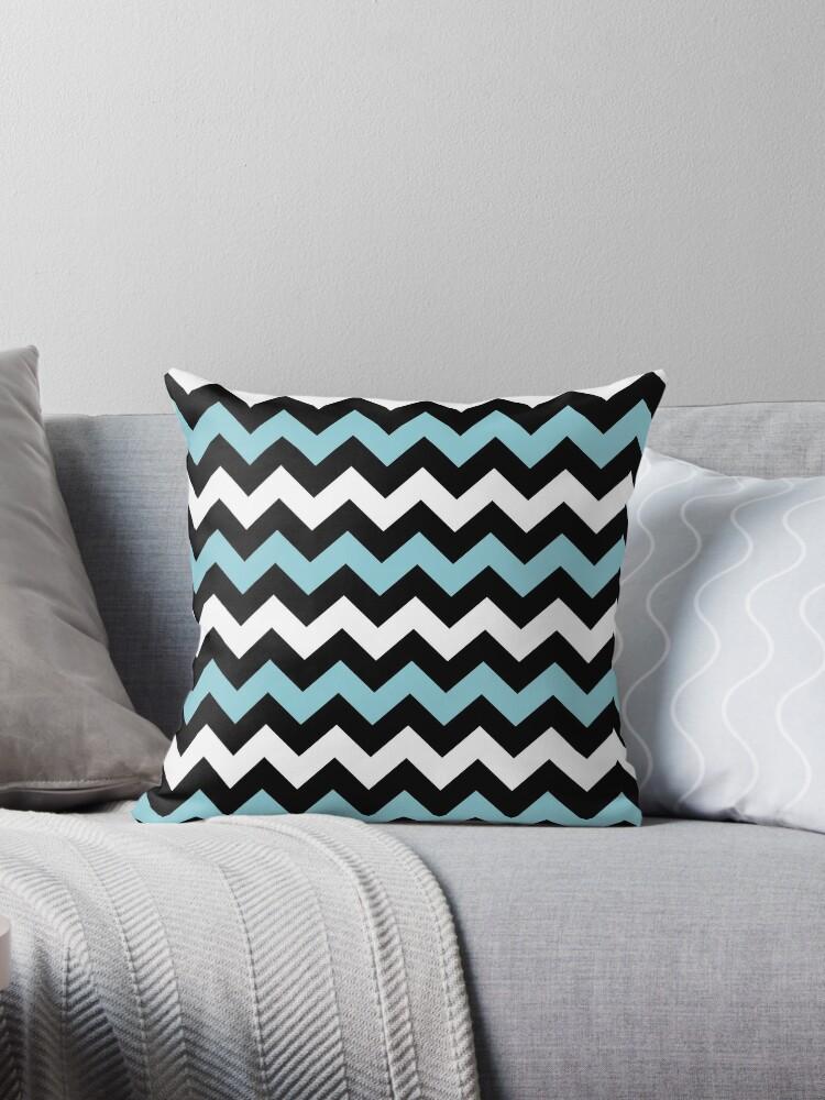 White, Blue & Black Chevron by an-design
