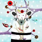 Polar Bear Birds Whimsical Kids Illustration Tree  by rupydetequila