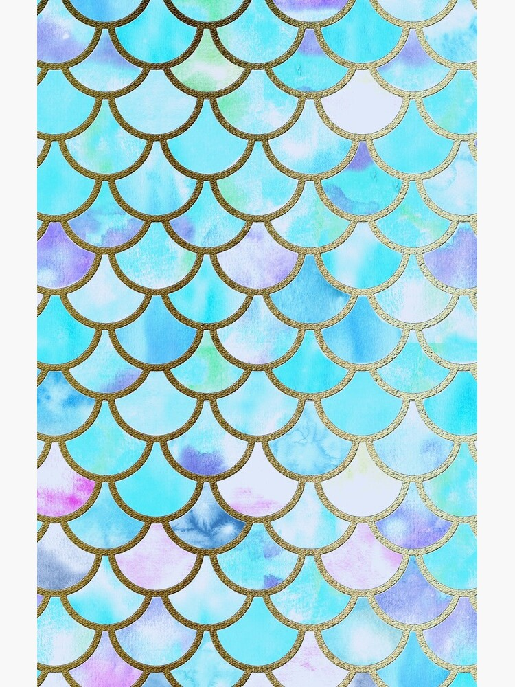 Teal and Blue Watercolor Faux Glitter Mermaid Scales by UtArt