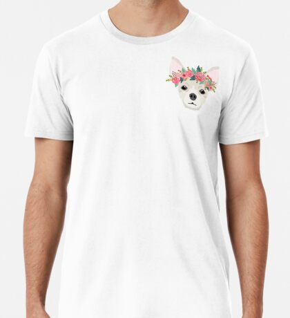 Chihuahua dog breed floral crown chihuahuas lover pure breed gifts  Premium T-Shirt