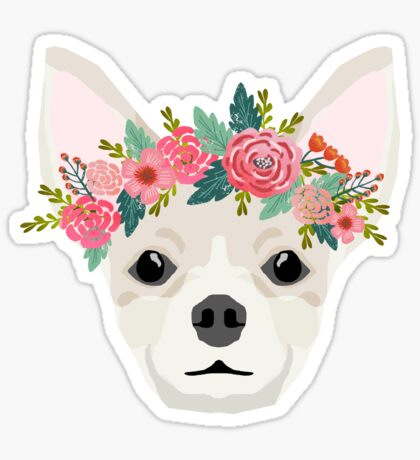 Chihuahua dog breed floral crown chihuahuas lover pure breed gifts  Sticker