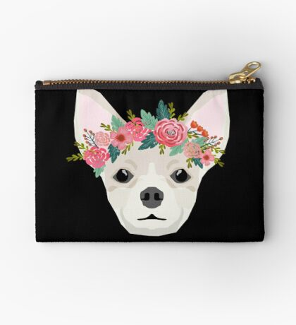 Chihuahua dog breed floral crown chihuahuas lover pure breed gifts  Zipper Pouch