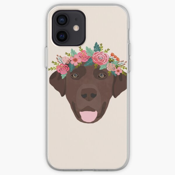 Chocolate Lab floral crown dog breed pet art labrador retrievers dog lovers gifts iPhone Soft Case