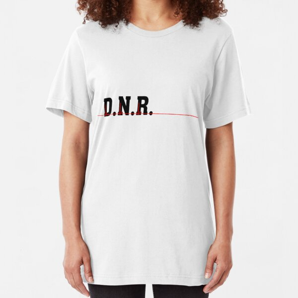 DNR Do Not Resuscitate black text red heartbeat  Slim Fit T-Shirt