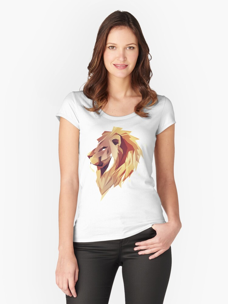 99a9e838 'Abstract Low Poly Lion' Women's Fitted Scoop T-Shirt by matthewmorete
