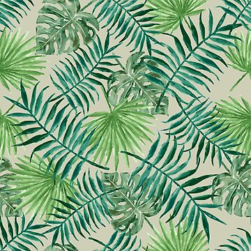 Tropical Palm Fronds and Ferns in Grey by elephantbay