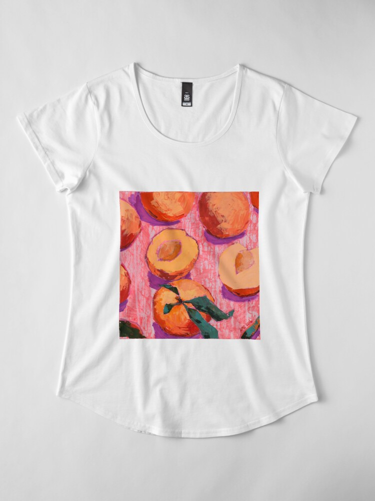 Alternate view of Peaches on Pink Background Premium Scoop T-Shirt