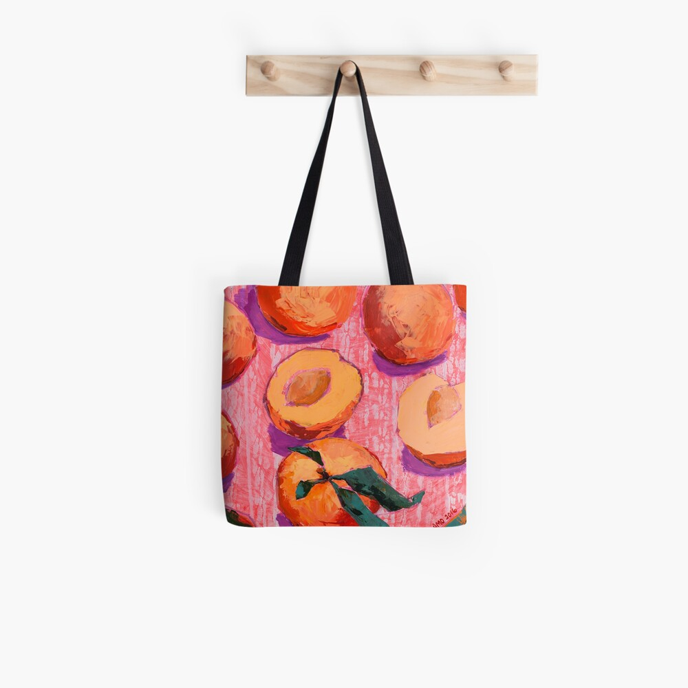Peaches on Pink Background Tote Bag