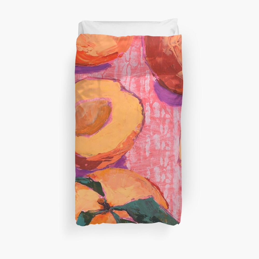 Peaches on Pink Background Duvet Cover