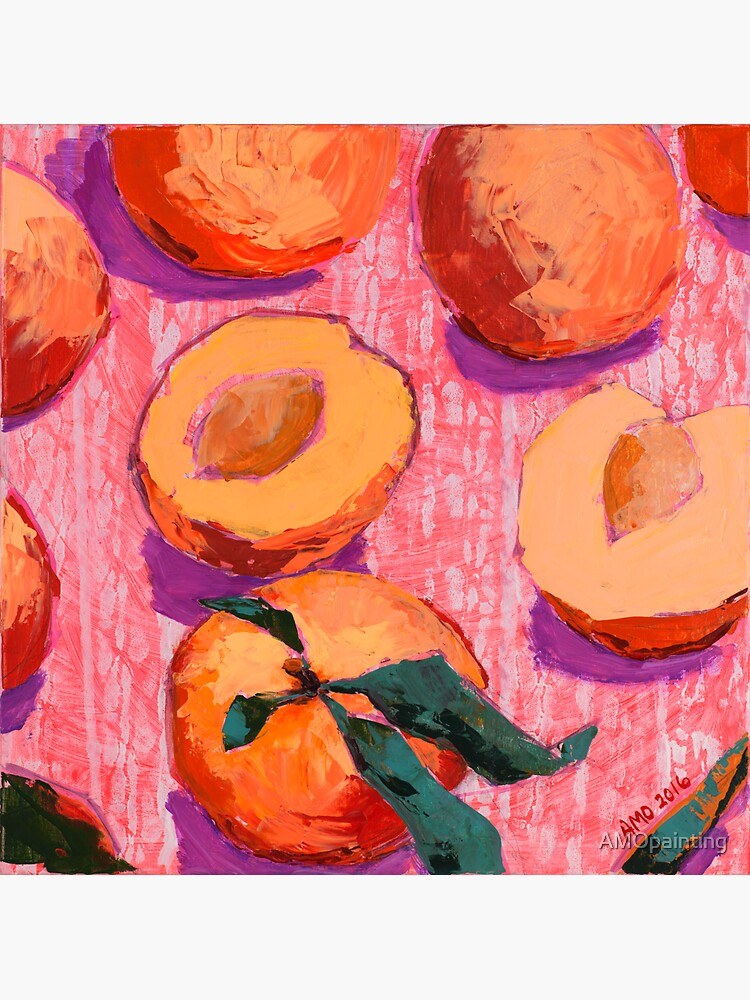 Peaches on Pink Background by AMOpainting