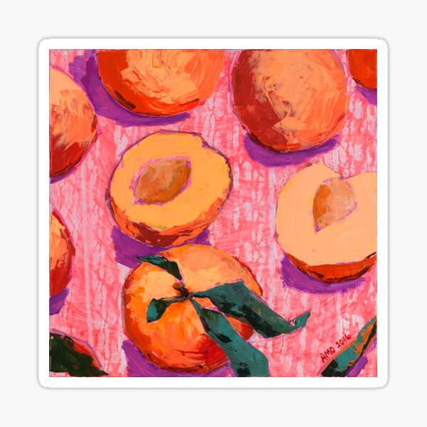 Peaches on Pink Background Sticker