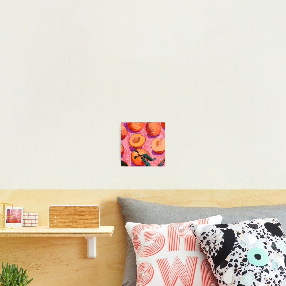 Peaches on Pink Background Photographic Print