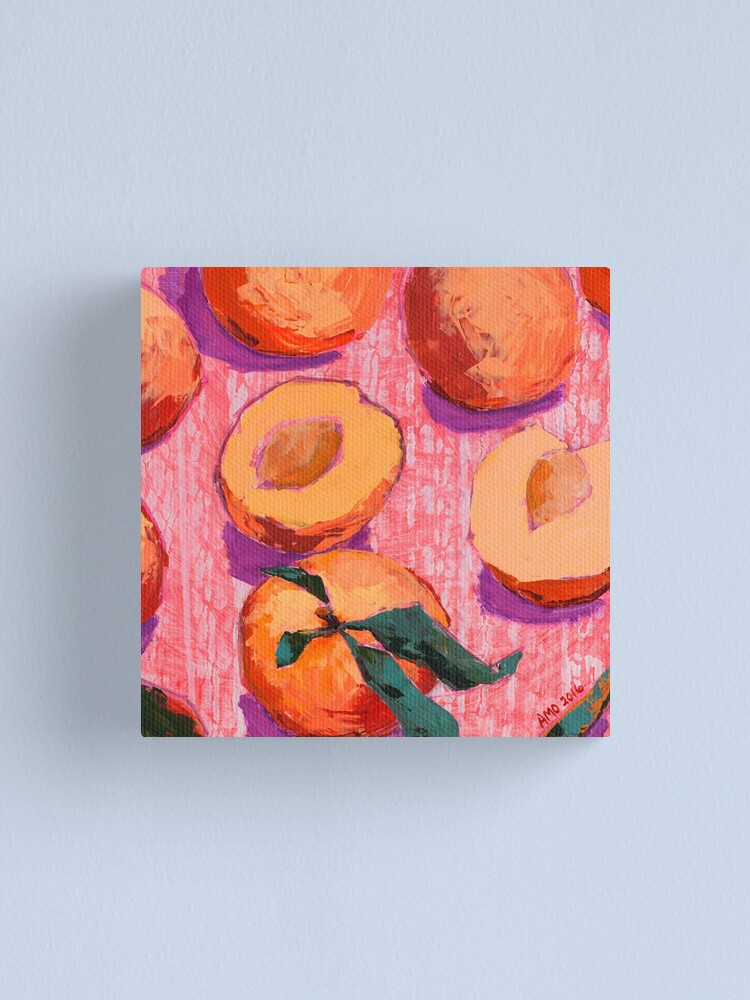 Alternate view of Peaches on Pink Background Canvas Print