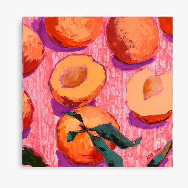 Peaches on Pink Background Canvas Print