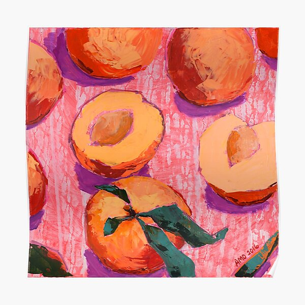 Peaches on Pink Background Poster