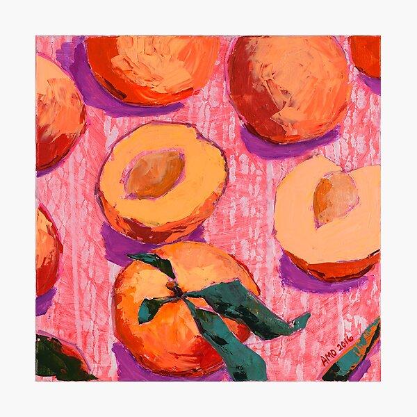 Pfirsiche auf rosa Hintergrund Fotodruck