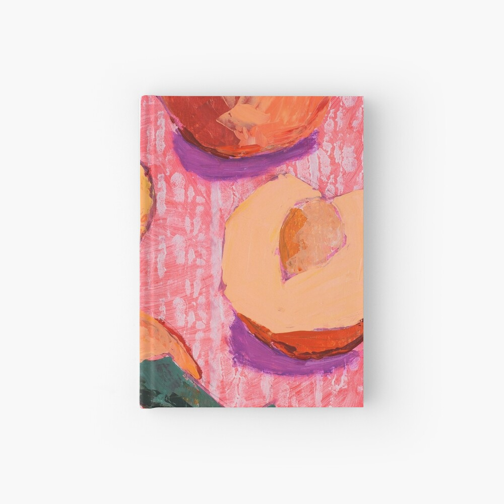 Peaches on Pink Background Hardcover Journal