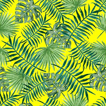 Tropical Palm Fronds and Ferns in Yellow by elephantbay