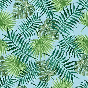 Tropical Palm Fronds and Ferns in Blue by elephantbay