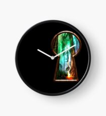 Magic forest behind the keyhole Clock