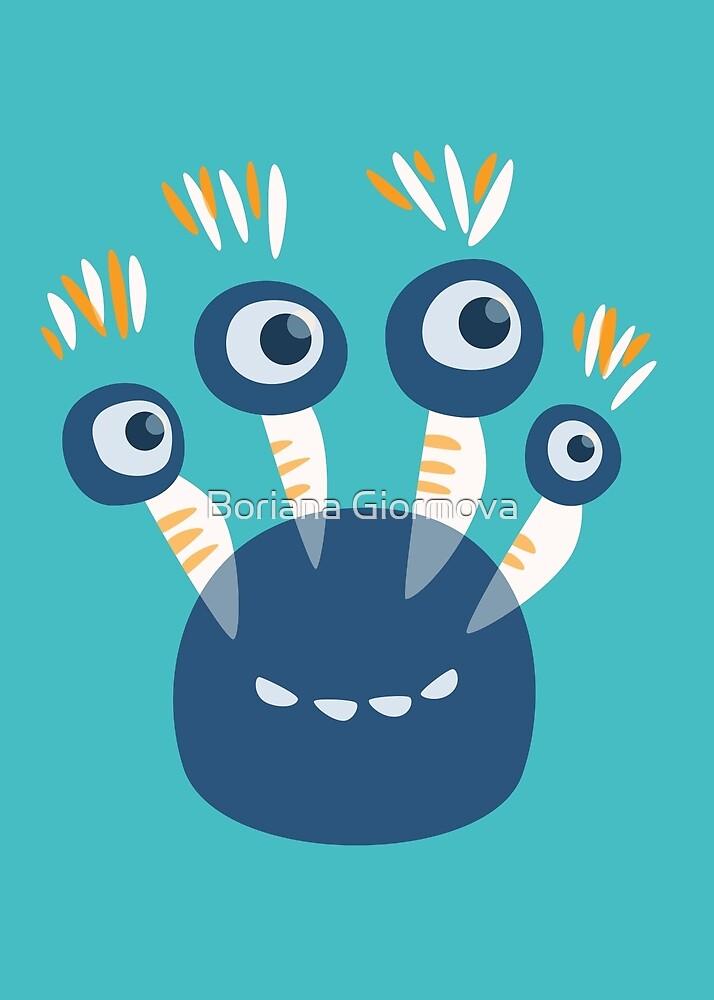 Cute Blue Four Eyed Cartoon Monster by Boriana Giormova