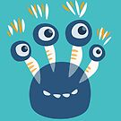 Cute Blue Four Eyed Cartoon Monster by Boriana Giormova