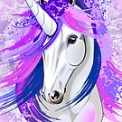 Unicorn Spirit Pink and Purple Mythical Creature  by BluedarkArt