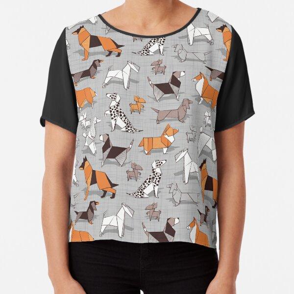 Origami doggie friends // grey linen texture background Chiffon Top