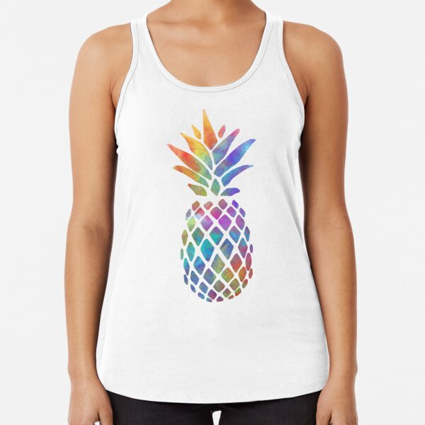 Colorful Feathers Pineapple Racerback Tank Top