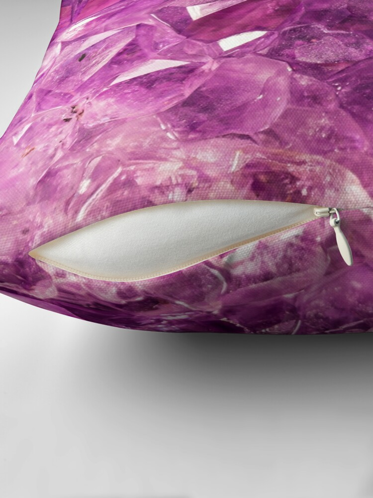 Alternate view of Amethyst gemstone throw cushion Throw Pillow