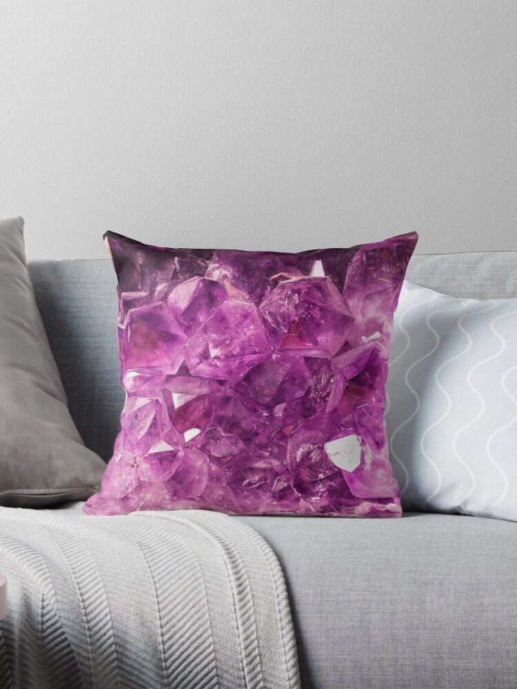 Amethyst gemstone throw cushion by ScotHomeStyle