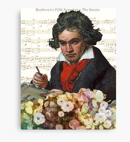 Ludwig von Beethoven Grunged III Canvas Print