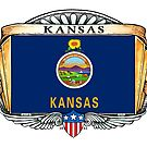 Kansas Art Deco Design with Flag by Cleave
