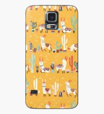Glückliches Lama mit Kaktus in einem Topf Hülle & Klebefolie für Samsung Galaxy