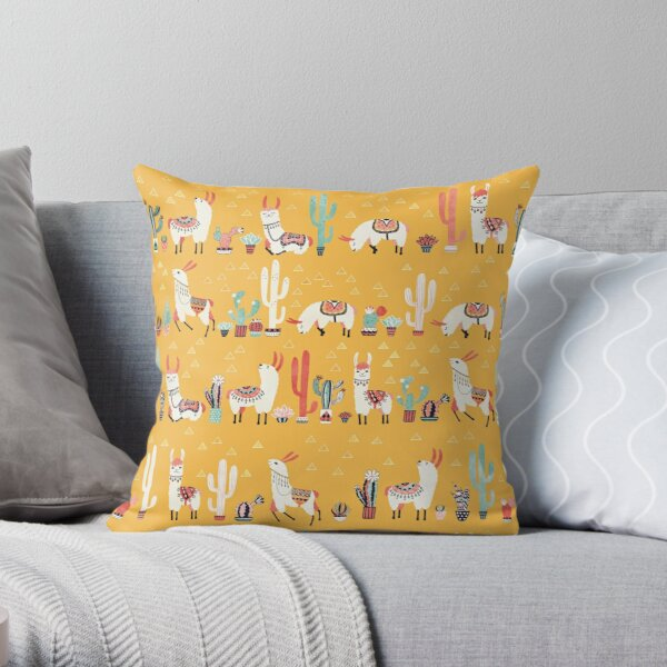 Happy llama with cactus in a pot Throw Pillow