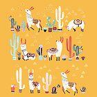 Happy llama with cactus in a pot by Lidiebug