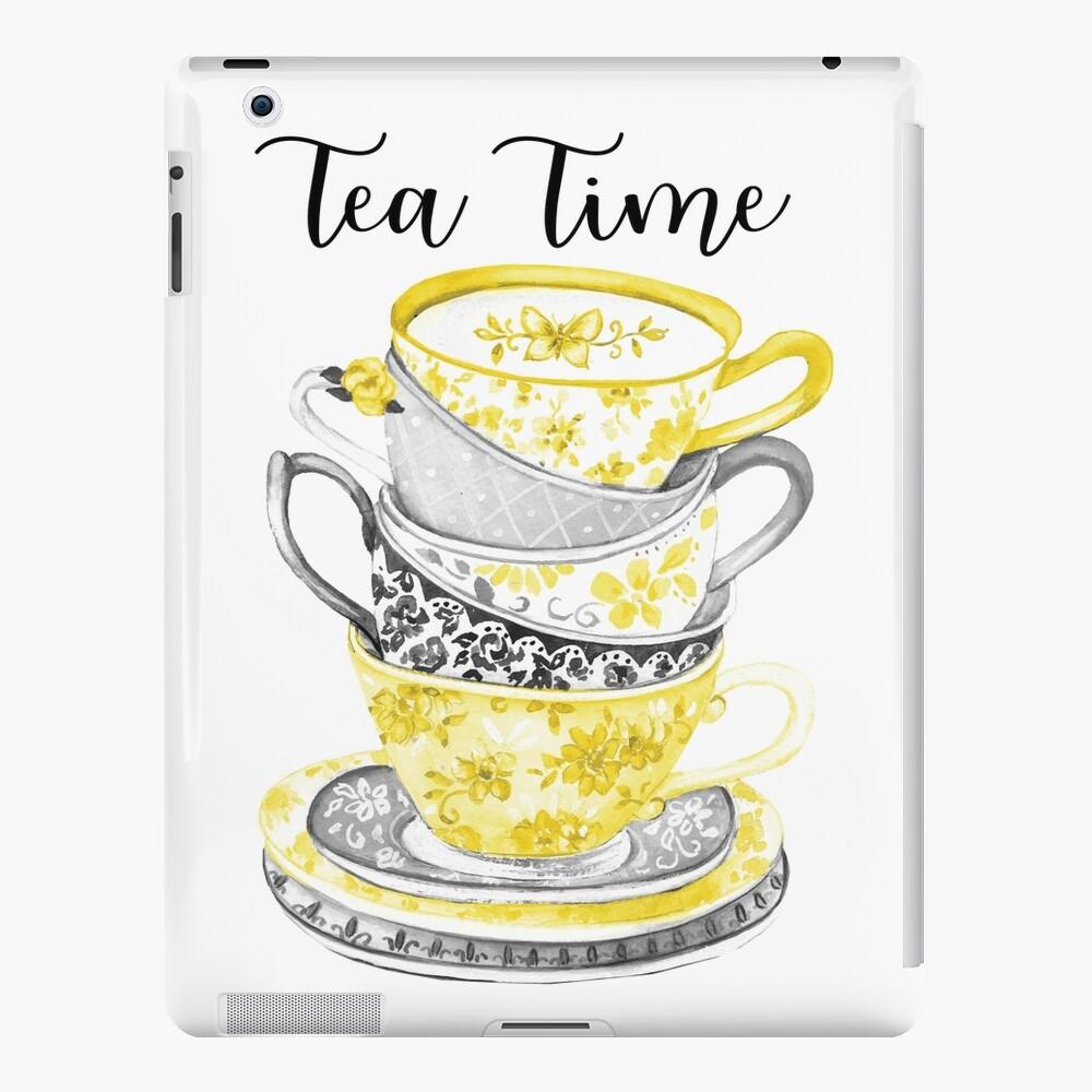 Hora del té de acuarela Teacups gris y amarillo Funda y vinilo para iPad