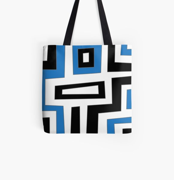 Blue white black geometric pattern Allover-Print Tote Bag