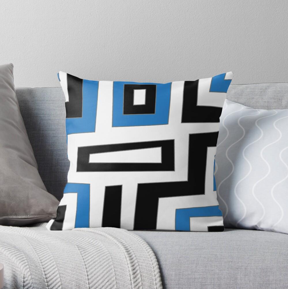 Blue white black geometric pattern Dekokissen