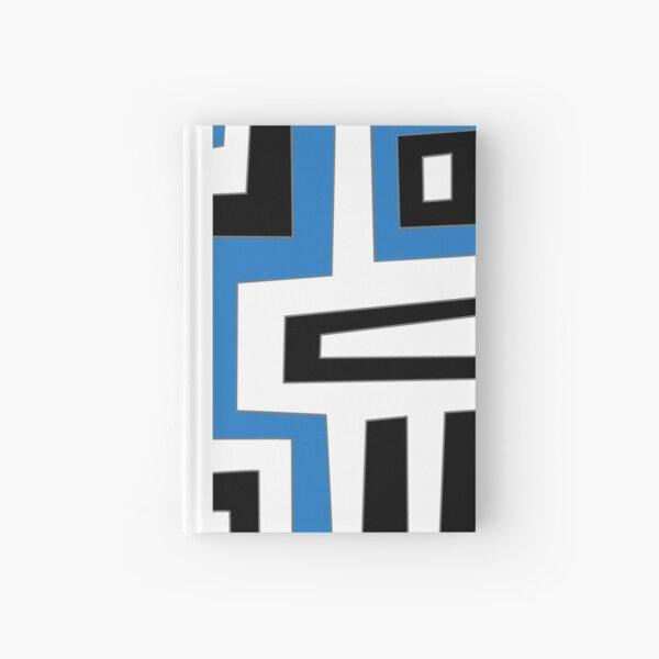 Blue white black geometric pattern Notizbuch
