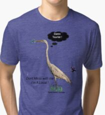 Damn Tourist ! with Tybee Island, Georgia logo Tri-blend T-Shirt